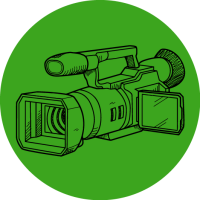 Line drawing of a camera with a green circle background