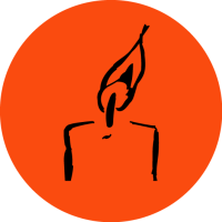 Line drawing of candle with orange background