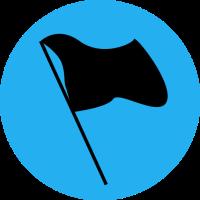 Black flag on a blue circle background