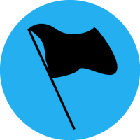 Black flag on a blue circle background