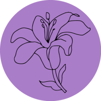 Line drawing of a lily on a lavender circle background