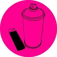 Line drawing of a spray can and a lighter on a pink background